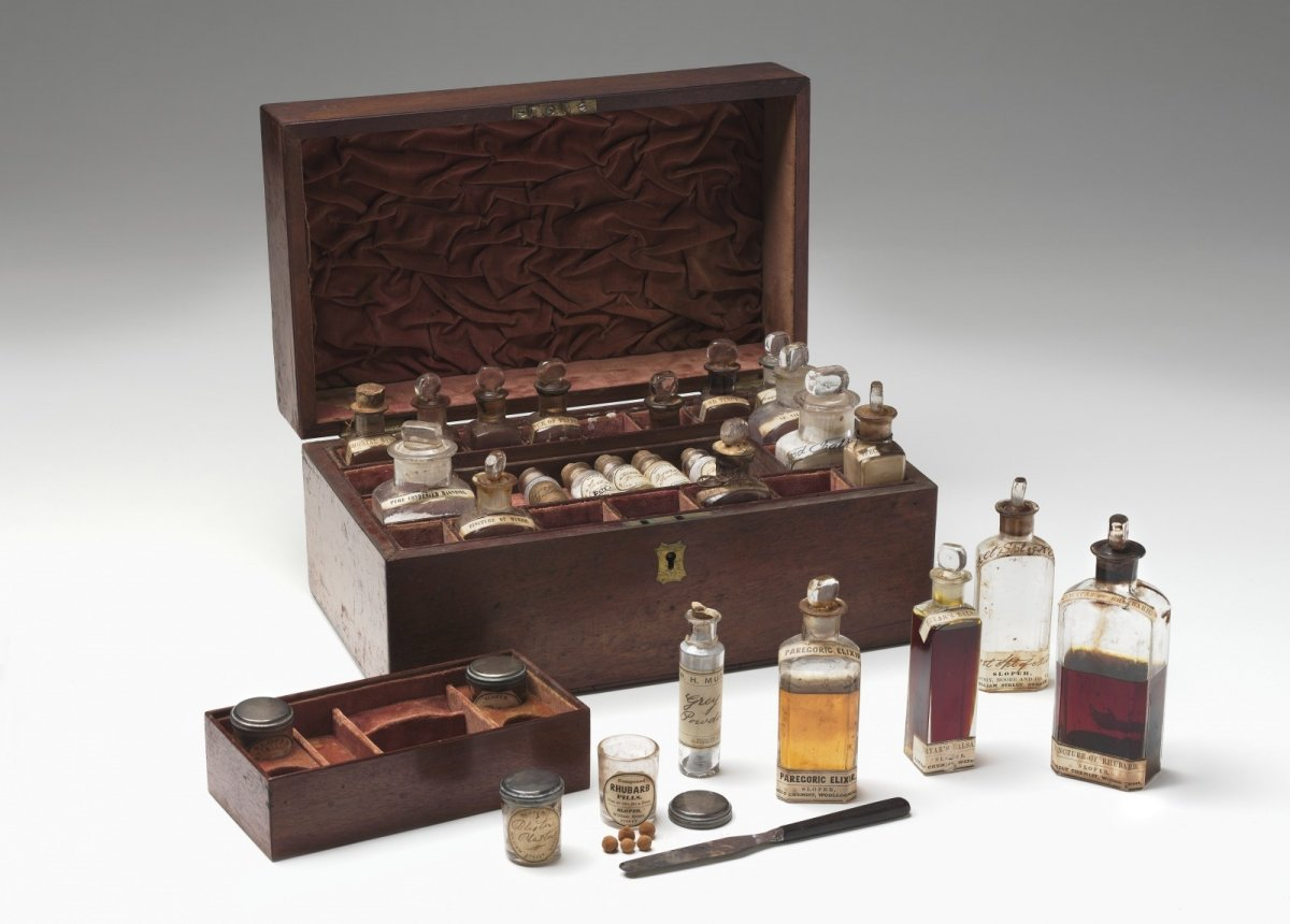 Some of the contents of the Faithfull family collection medicine chest, National Museum of Australia.