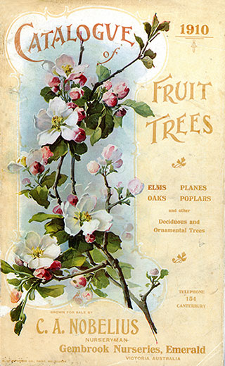 Front page of a catalogue for fruit trees