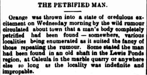 Petrified Man newspaper clipping