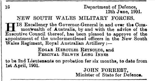 Appointment of officers in New South Wales Military Forces, Commonwealth Government Gazette, 14 June 1901