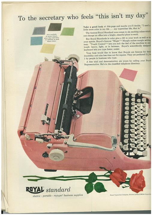 Advertisement for a pink electric typewriter
