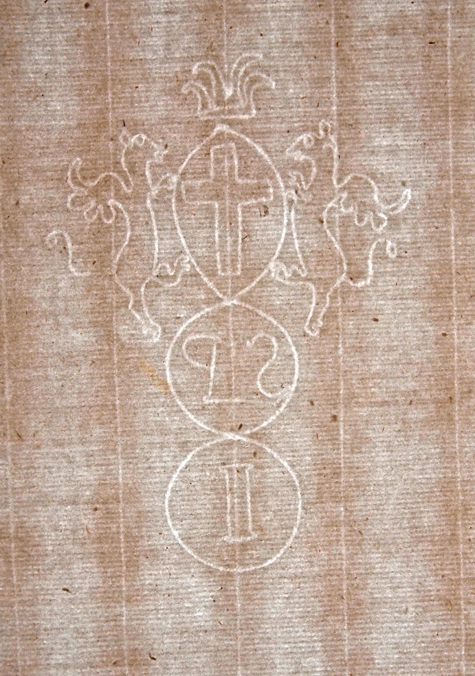 Sample of undated early paper showing an elaborate watermark