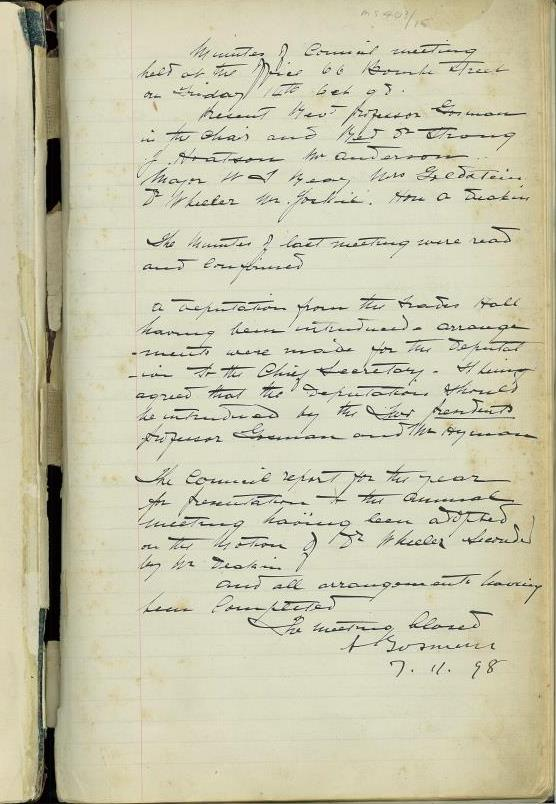 Page from 1898 Minute Book