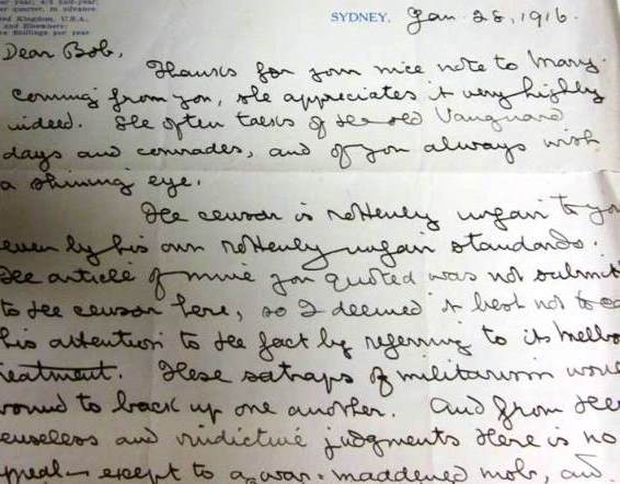 Handwritten wartime letter from papers of Robert Samuel Ross