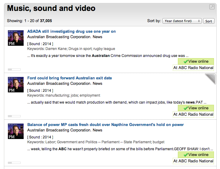 Screen capture of Trove results for PM