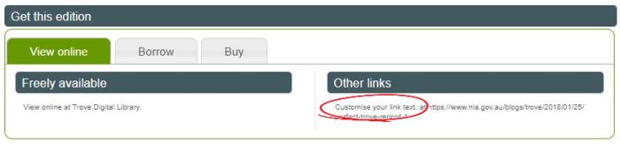 Customising link text screenshot