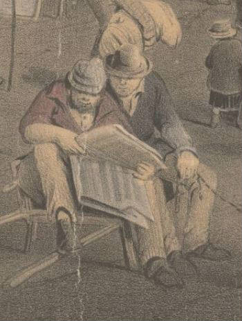 Detail of two miners reading newspapers