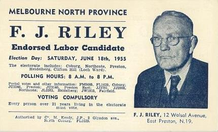 Campaign flyer for Riley