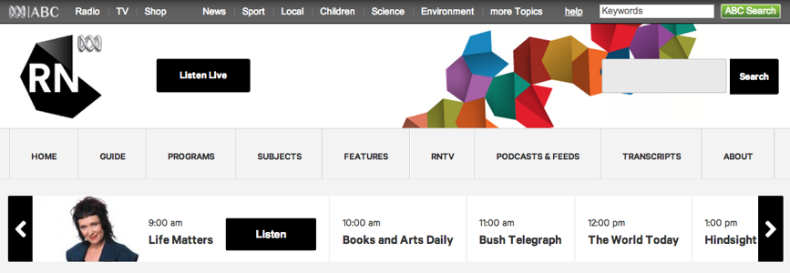 Screen capture of ABC Radio National home page