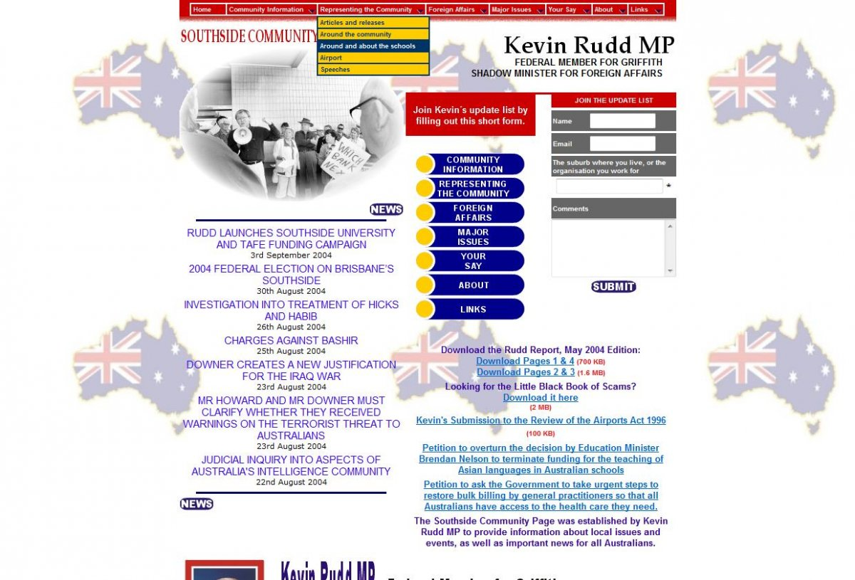 Kevin Rudd Member fo Griffith 2004
