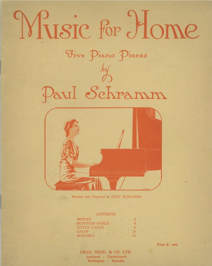 five piano pieces' by Paul Schramm, showing the title, author and contents, as well as an illustration of a woman playing the piano, printed in orange on a beige background.