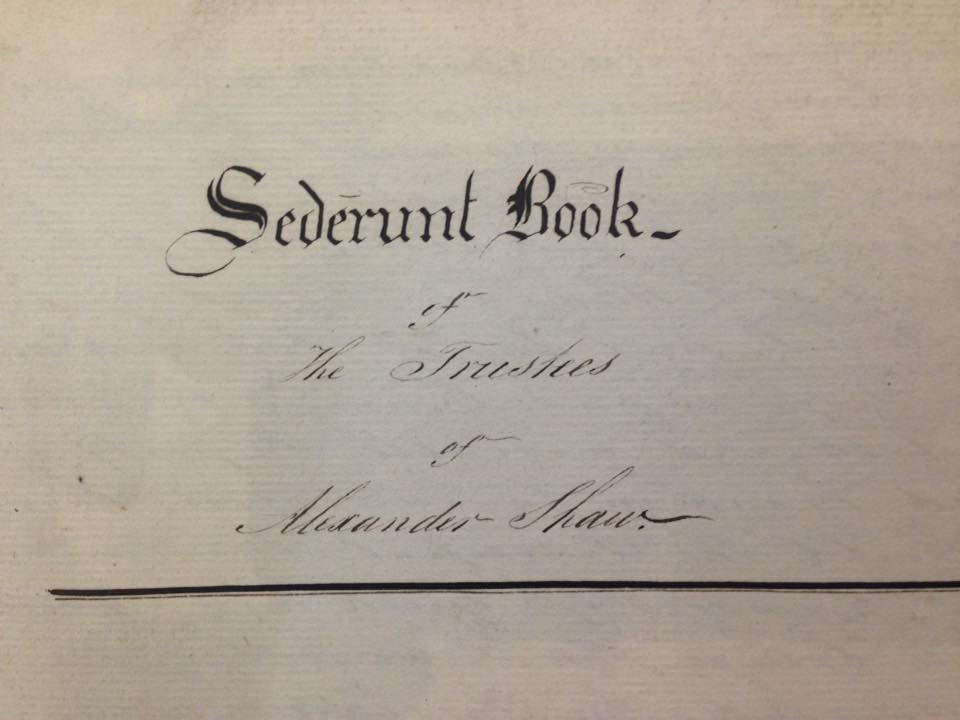 Sederunt book of the Trustees of Alexander Shaw