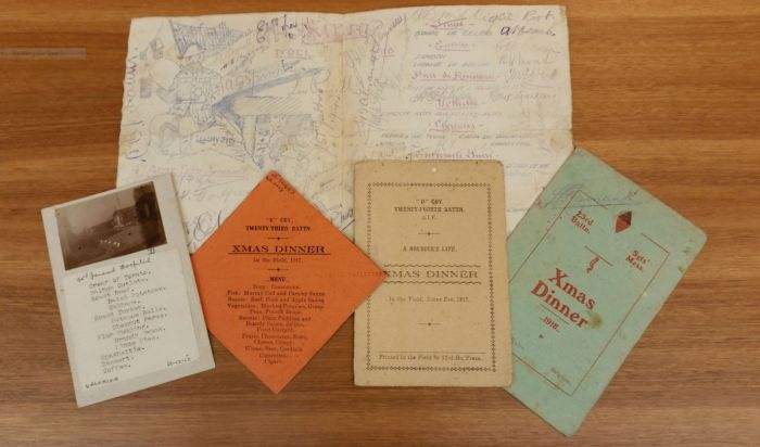Selection of First World War Christmas menus