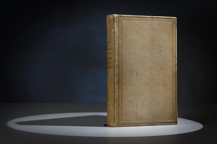 Photo of a book bound with human skin