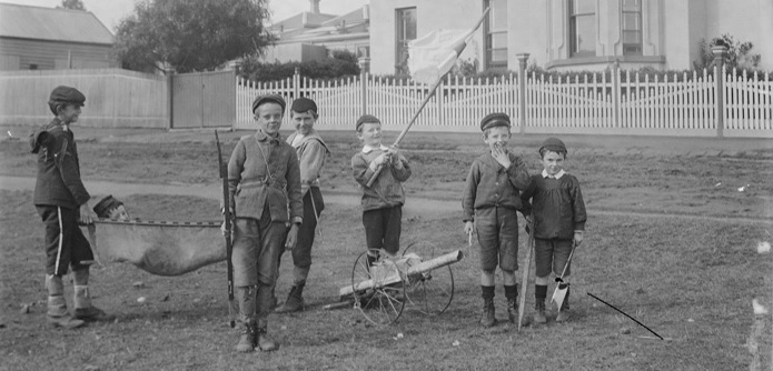 Photo of Boys Playing Soldiers circa 1900