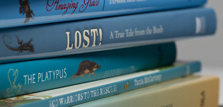 Photo of a stack of NLA Publishing children's books