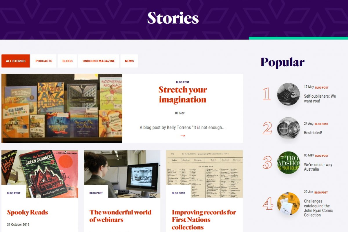 The Stories page on the NLA website.