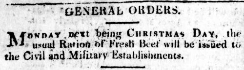 General Orders for Christmas food rations 1809