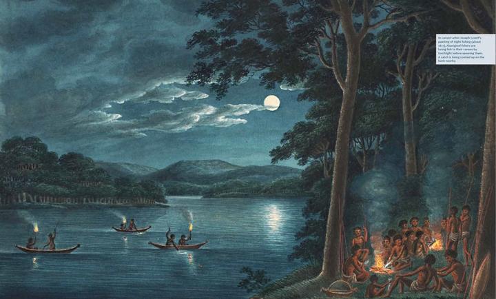 Nightime fishing scene