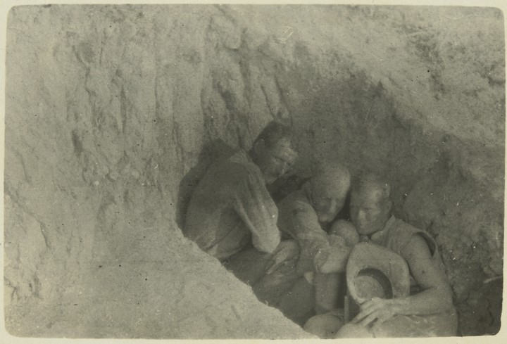 Campbell photograph Sheltering from Bursting Shells