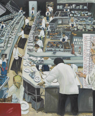 Painting depicting Chef Tetsuya Wakuda and staff working in kitchen