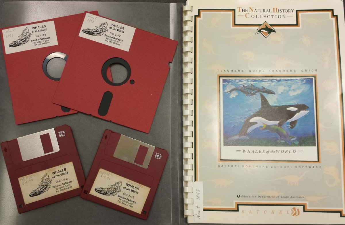 Whales of the World database on 5 ¼ and 3 ½ inch floppy disk plus booklet