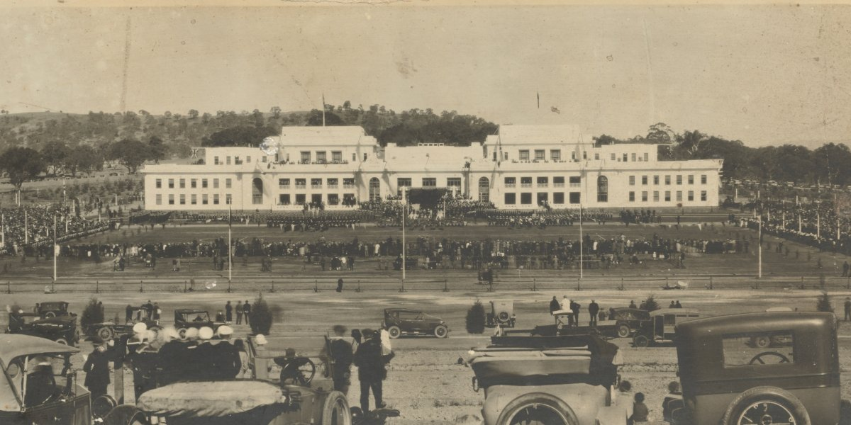 The opening of Parliament House by the Duke of York, Canberra, 9 May 1927. Image by Theo E. Cooper.