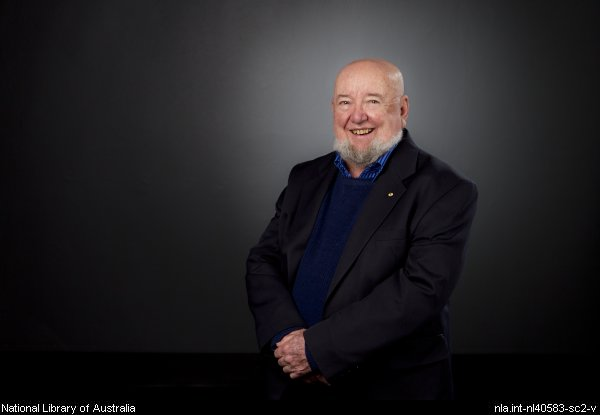 Portrait of Thomas Keneally taken at the National Library of Australia, 2011
