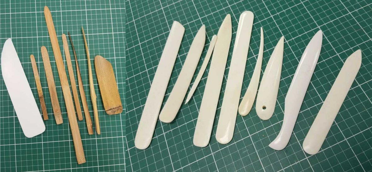 Teflon and bamboo spatulas and Bone folders