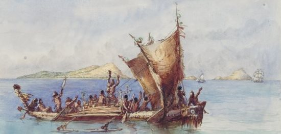 Porcher, Edwin Augustus, -1878. Pacific Ocean, a native canoe meeting strangers off the Murray Islands