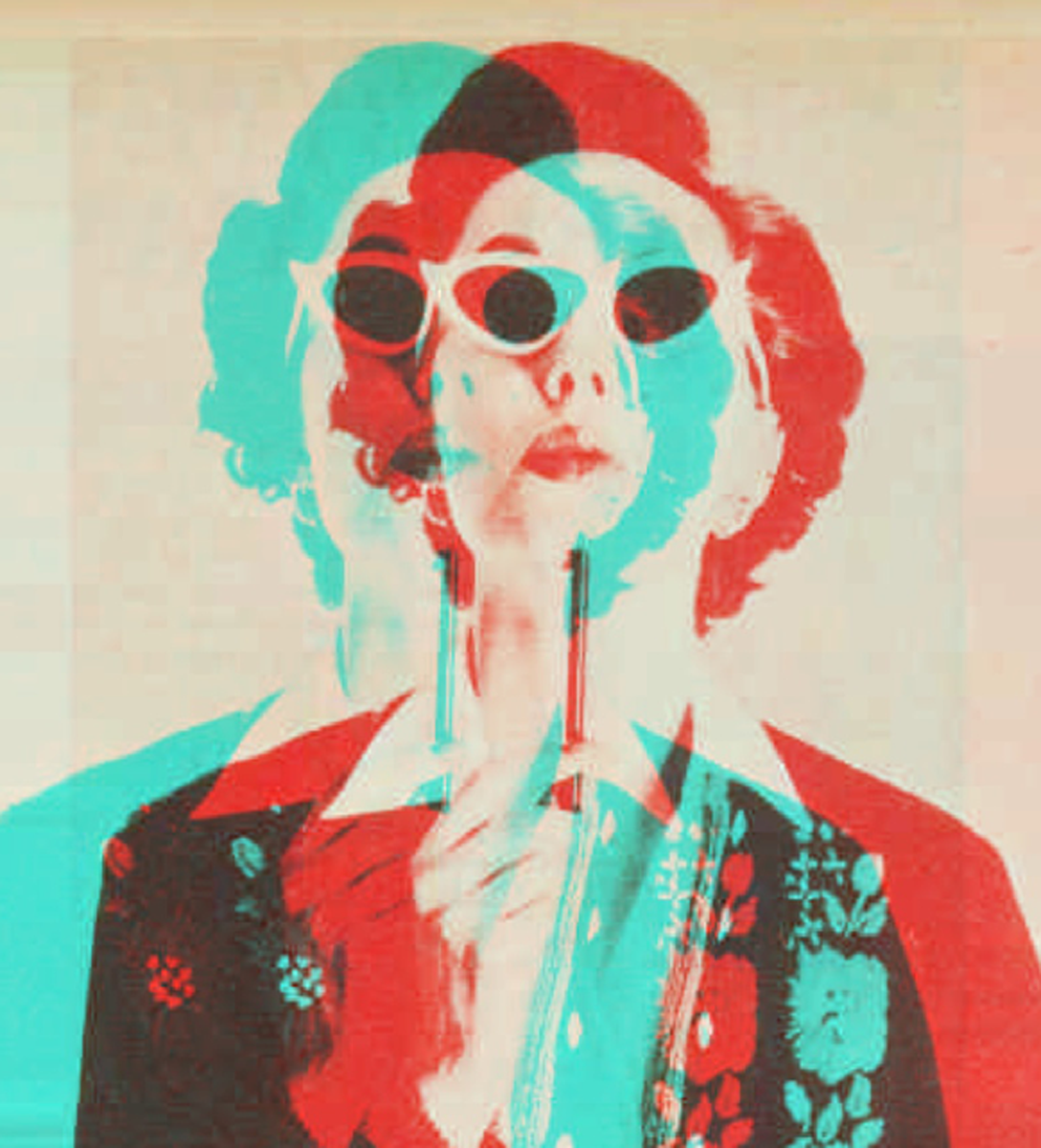 A tricolour, pop art style image of a 1950s lady, thoughtfully holding pen to chin.