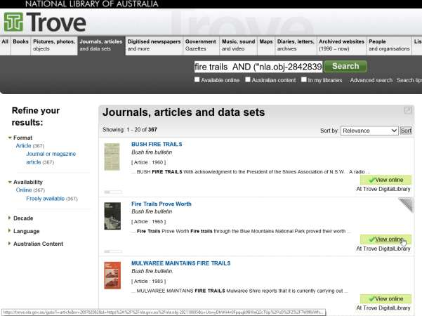 Search results on Trove website