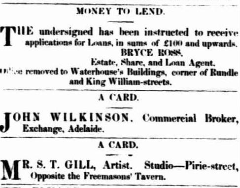 Adjacent advertisements for businesses of Bryce Ross and ST Gill