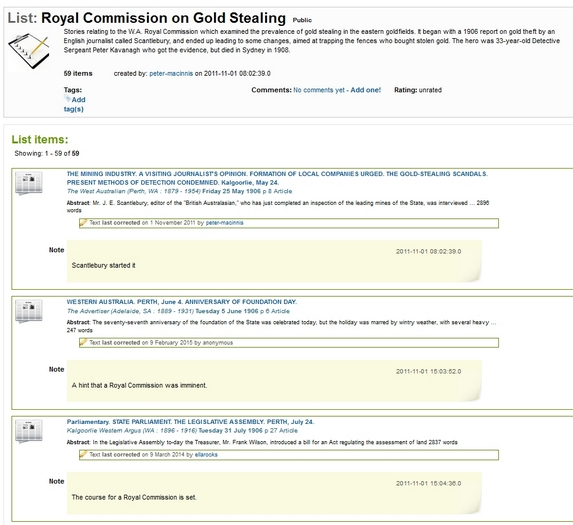 Peter Macinnis' Trove list on the WA Royal Commission on Gold Stealing