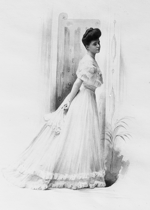 Woman wearing a long frilly dress