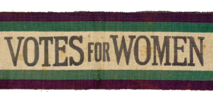 Sash with inscription: Votes for women