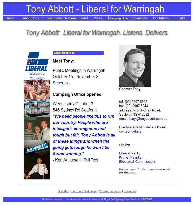 Federal Member for Warringah website homepage