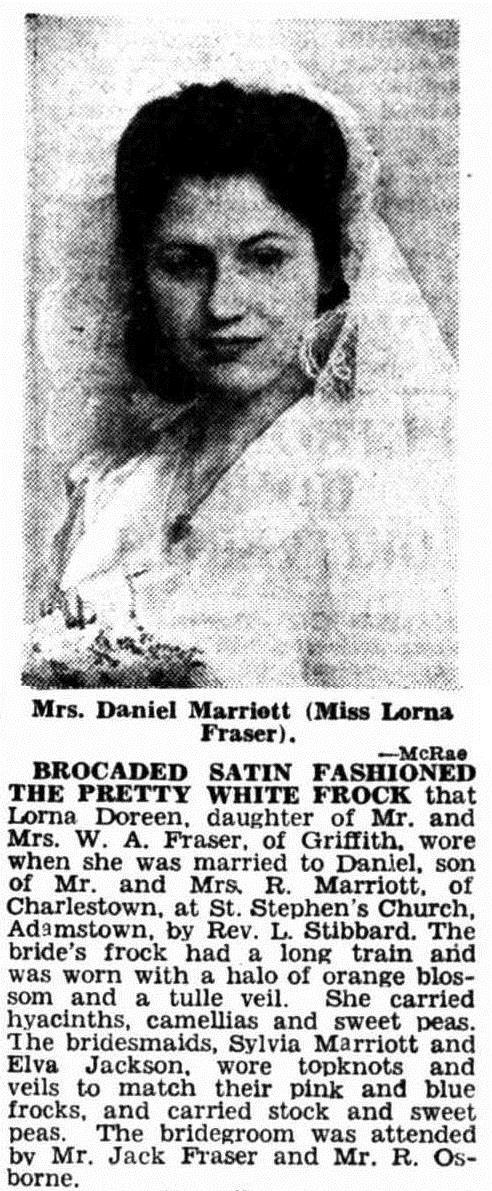 Wedding announcement (1946, The Newcastle Sun)