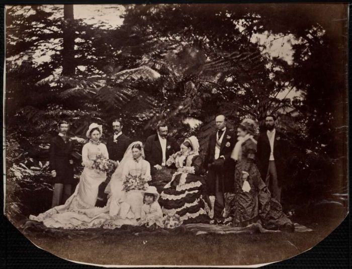 Wedding party for marriage of Nora Augusta Maud, daughter of Sir Hercules and Lady Nea Robinson, to A.K. Finlay, Sydney, August, 1878