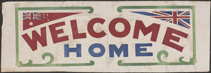 Handmade textile Welcome Home banner