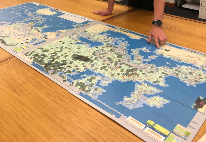 World in Flames board game on desk