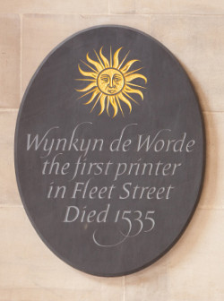 Wynkyn de Worde plaque