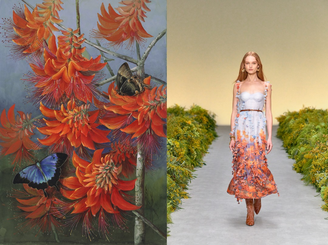An Ellis Rowan floral artwork with butterflies next to an image of a model on the runway wearing a dress inspired by the artwork.