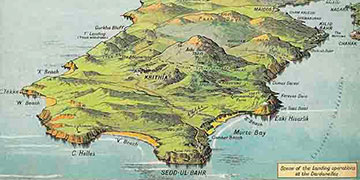Illustrated map from the first world war