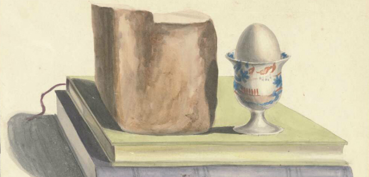 watercolour painting of a loaf of bread and an egg in an egg cup sitting on two books