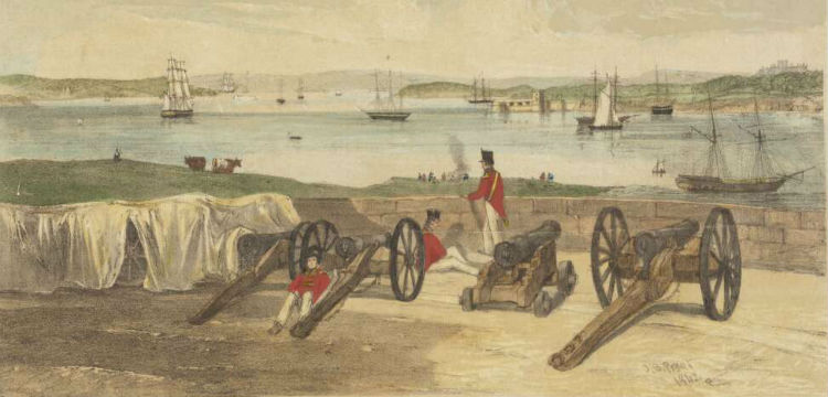 Port Jackson from Dawes' Battery (1842)