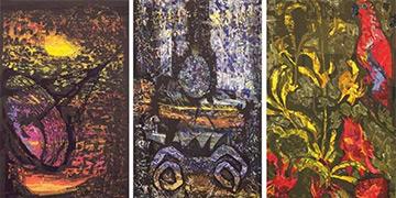 Art from LIbrary Foyer: Mathieu Matégot, Three Tapestries