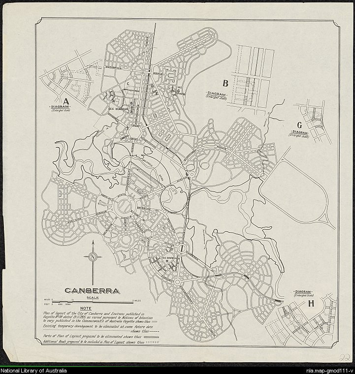 Canberra: plan of layout of the city of Canberra and environs