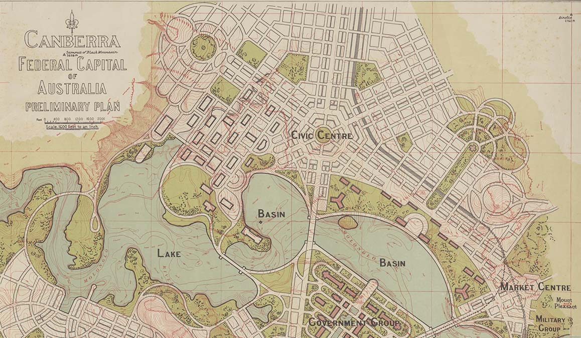 Canberra Federal Capital of Australia preliminary plan, Walter Burley Griffin 1913
