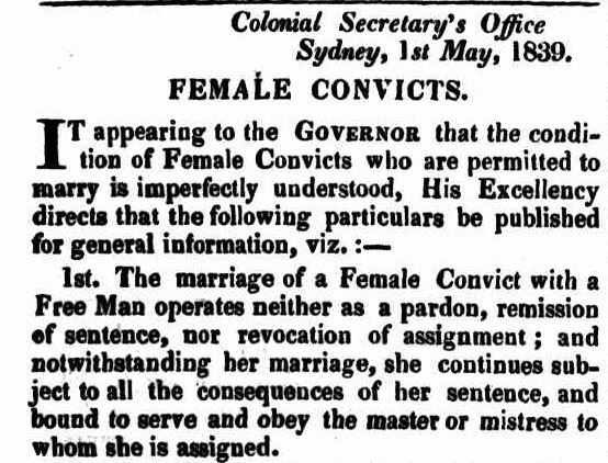 What happened when a female convict married a free man?